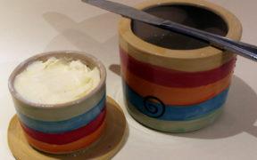französische Butterdose aus Keramik